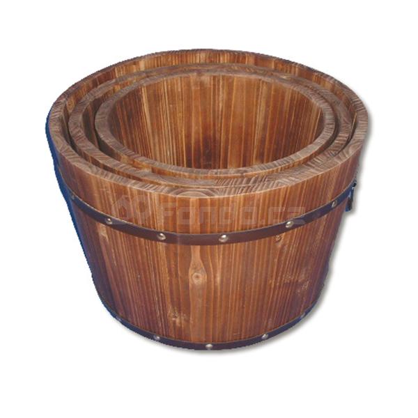 Dřevěné květináče - sada 3 ks mod.046