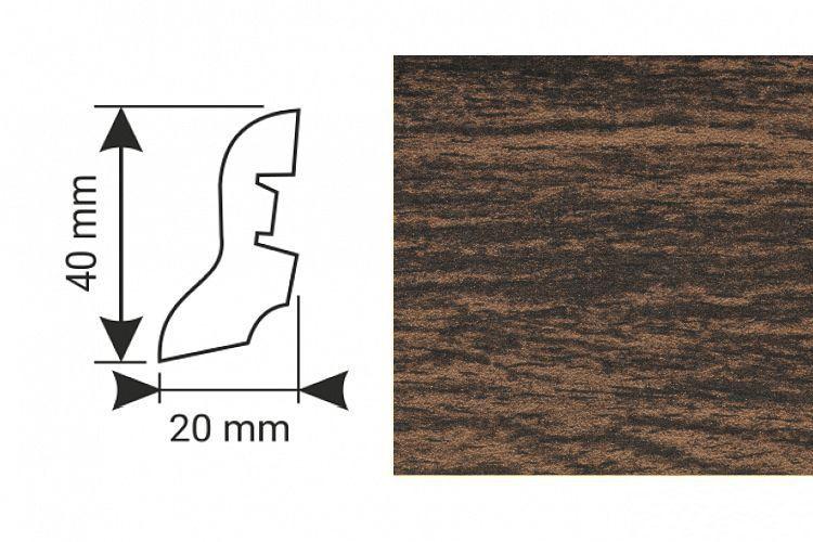 K-Produkt Dub dark 13517 soklová lišta 40x20
